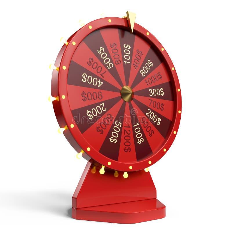 колесо иллюстрации 3d красное везения или удачи Реалистическое закручивая колесо удачи Удача колеса изолированная на белизне бесплатная иллюстрация