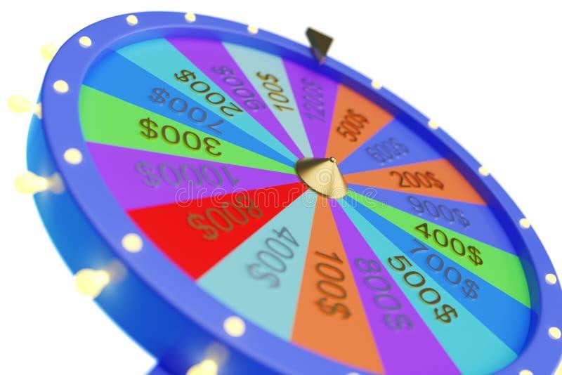 колесо иллюстрации 3d красочное везения или удачи Колеса удачи рулетки закручивая, колесо казино Удача колеса дальше иллюстрация штока