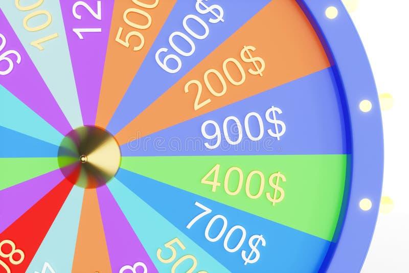 колесо иллюстрации 3d красочное везения или удачи Колеса удачи рулетки закручивая, колесо казино Удача колеса дальше иллюстрация вектора
