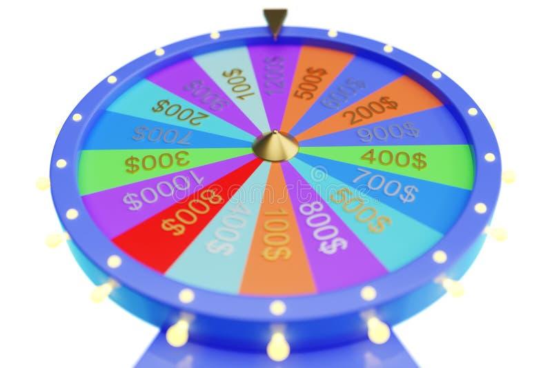 колесо иллюстрации 3d красочное везения или удачи Колеса удачи рулетки закручивая, колесо казино Удача колеса дальше бесплатная иллюстрация