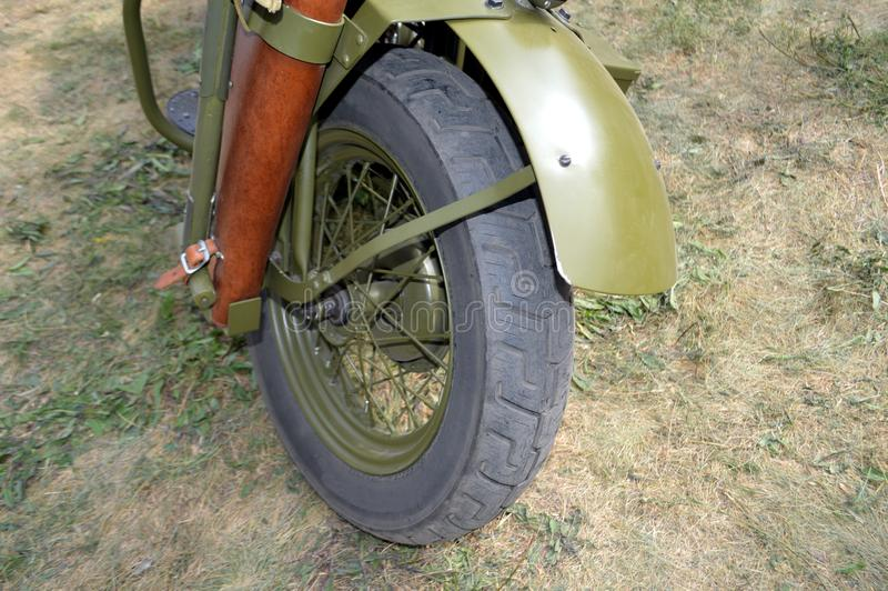 Колесо и обвайзер мотоцикла Harley переднее стоковые фотографии rf