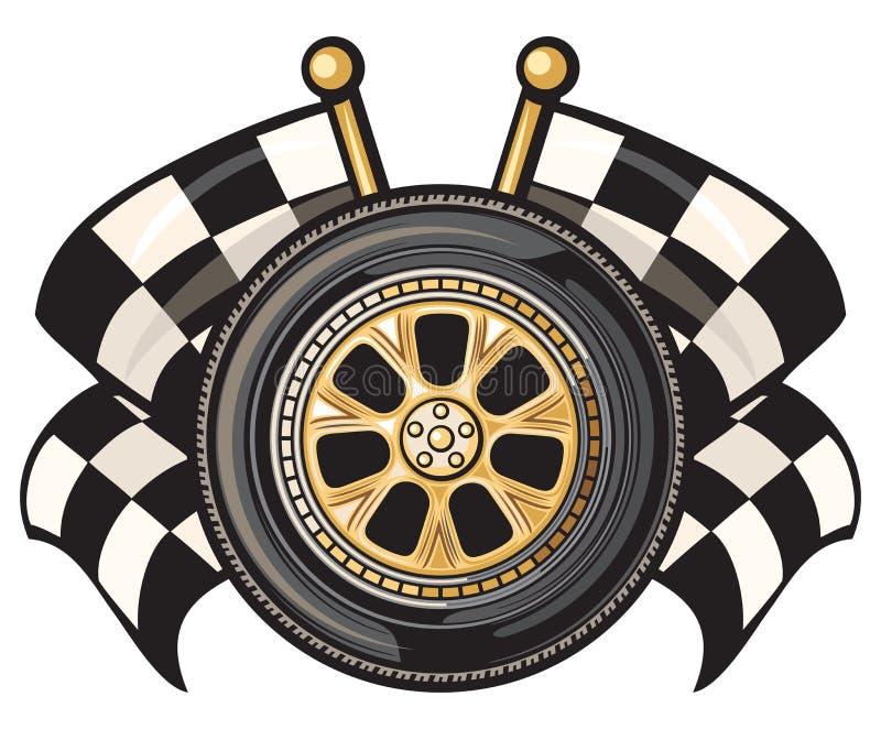 Колесо и 2 пересекли checkered флаги бесплатная иллюстрация