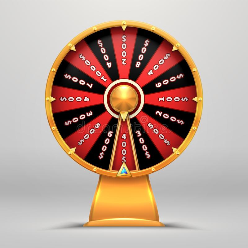 Колесо удачи Люди движения удачливого номера катя поворачивают иллюстрацию знака вектора объектов везения стрелки 3d Игра казино  иллюстрация вектора