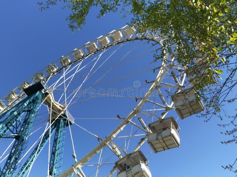 Колесо Ferris против ярких голубого неба и зеленого цвета стоковые фотографии rf