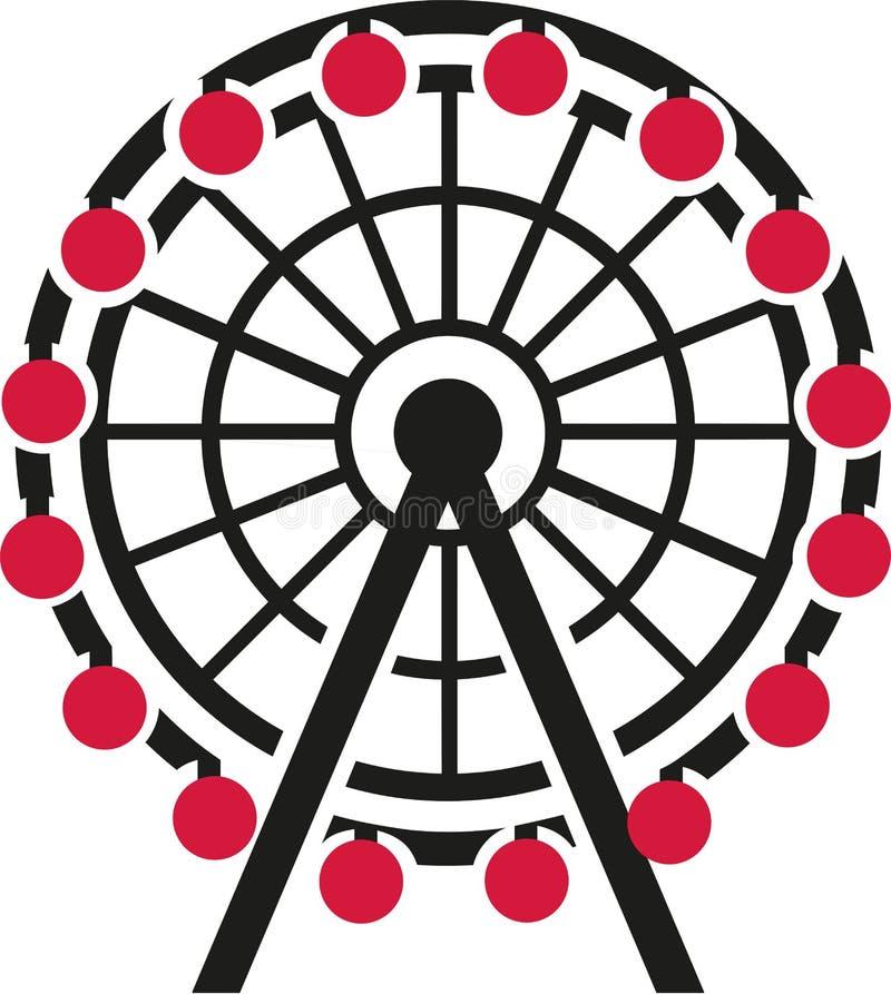 Колесо Ferris с красной гондолой иллюстрация штока