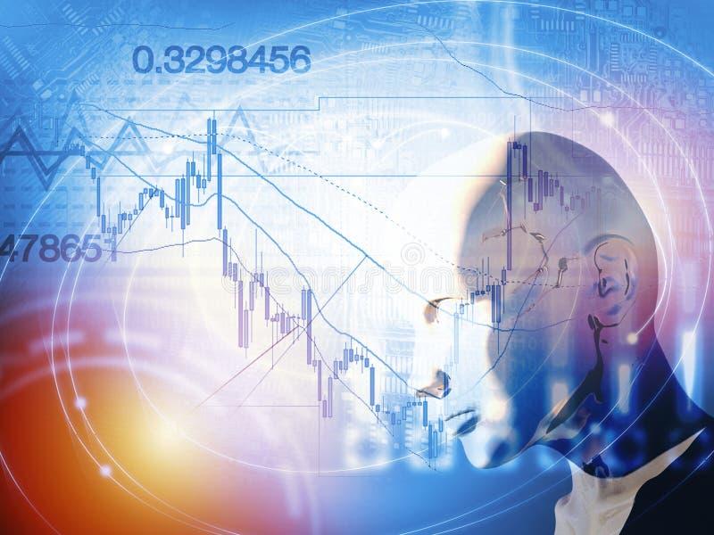 Количественная концепция запаса и валют торгуя с искусственным интеллектом иллюстрация вектора