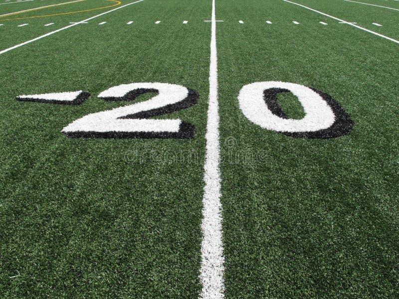 количество в ярдах школы отметки футбола поля высокое стоковое изображение rf