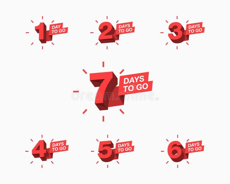 Количество дней выведенных для того чтобы пойти комплекс предпусковых операций для продажи, продвижение, плакат или знамя иллюстрация вектора