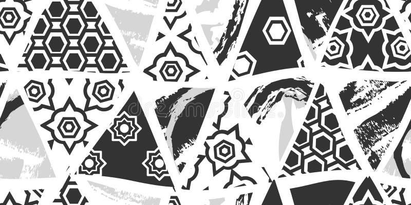Коллажа украшения конспекта картина необыкновенного скандинавского черно-белого безшовная иллюстрация вектора