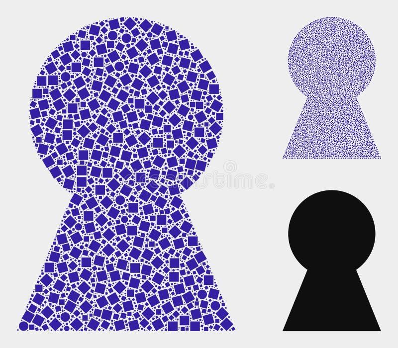 Коллажи значка отверстия для ключа квадратов и кругов иллюстрация вектора