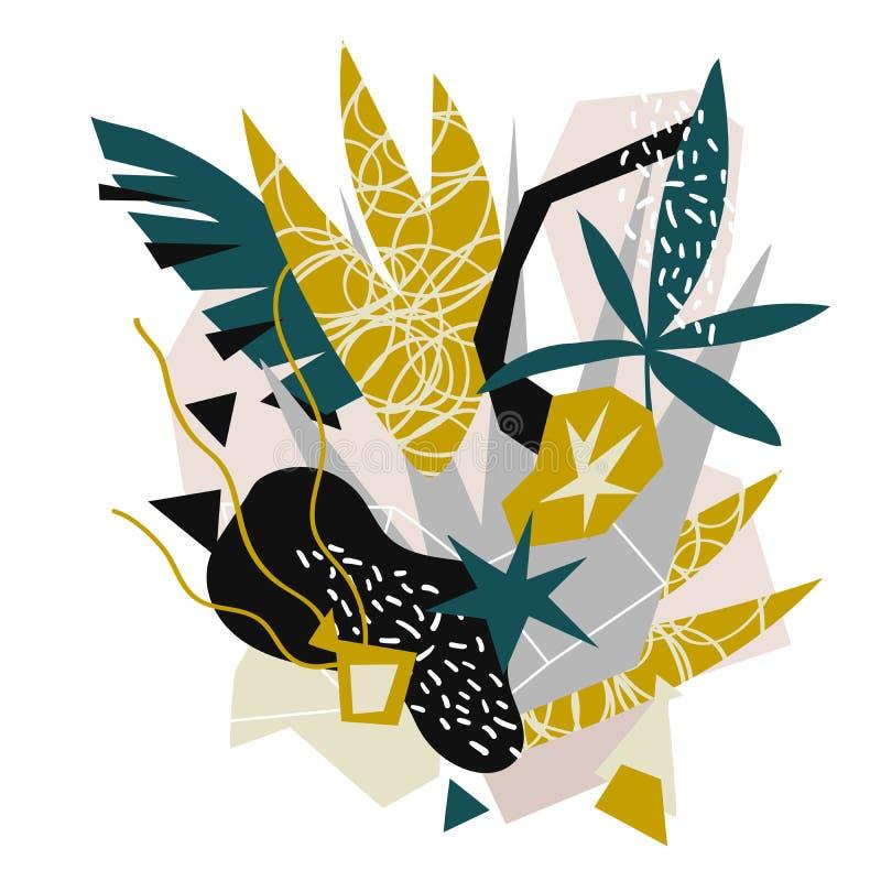 Коллаж абстрактных флористических элементов бумажный нарисованная рука иллюстрации вектора бесплатная иллюстрация