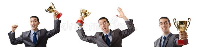 Коллаж бизнесмена получая награду стоковые изображения rf