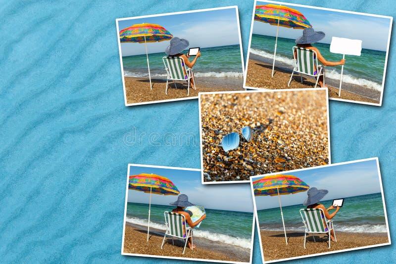 Коллаж девушки сидя в deckchair на пляже стоковые изображения rf