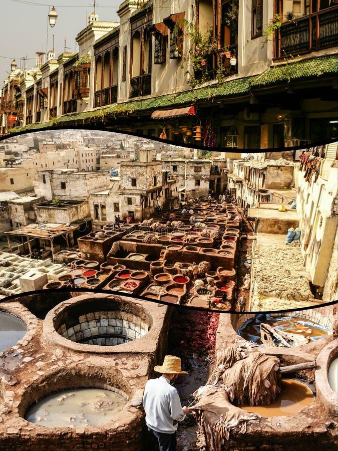 Коллаж дубильни Fes традиционной обрабатывая кожаной в Марокко стоковая фотография