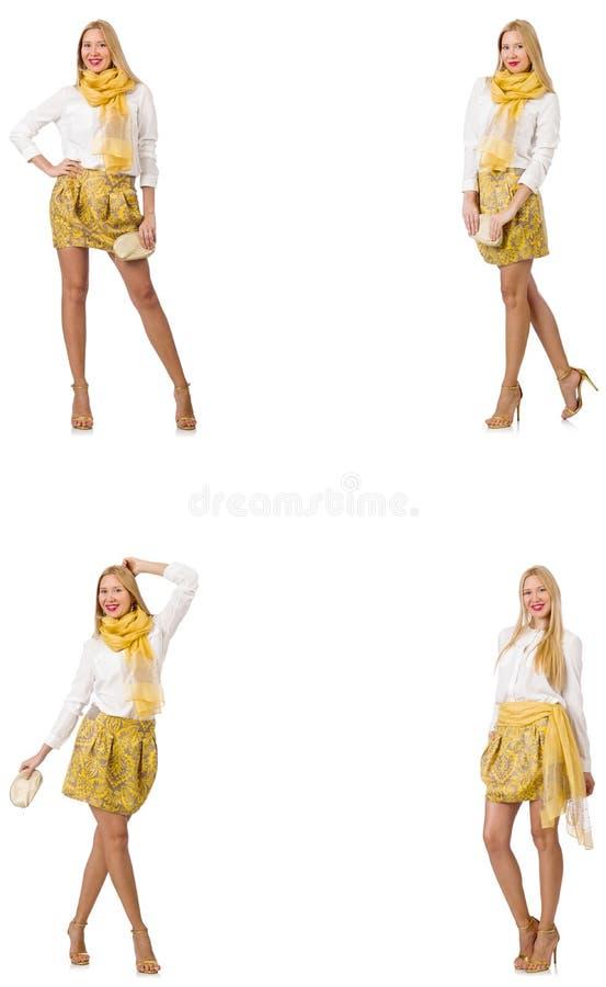 Коллаж женщины во взгляде моды изолированной на белизне стоковое фото rf