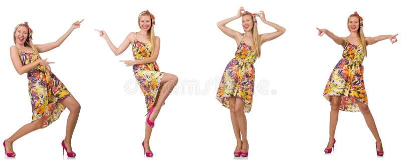 Коллаж женщины во взгляде моды изолированной на белизне стоковое изображение