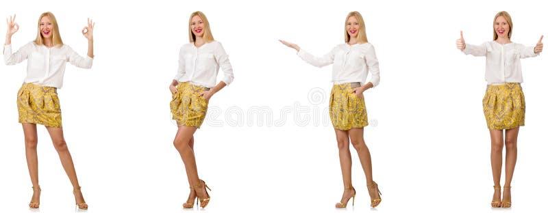 Коллаж женщины во взгляде моды изолированной на белизне стоковая фотография rf