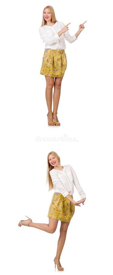 Коллаж женщины во взгляде моды изолированной на белизне стоковое изображение rf