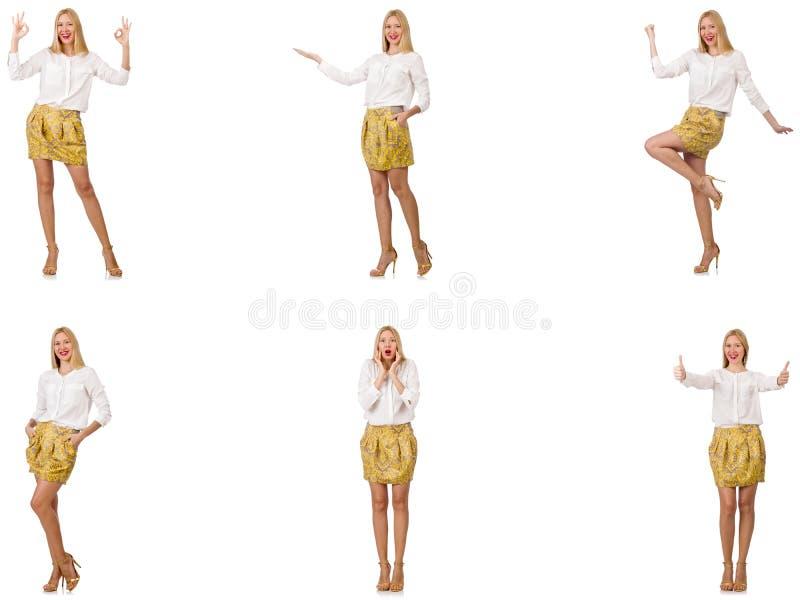 Коллаж женщины во взгляде моды изолированной на белизне стоковые изображения rf