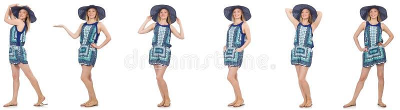 Коллаж женщины в голубых платье и Панаме на белизне стоковые фото