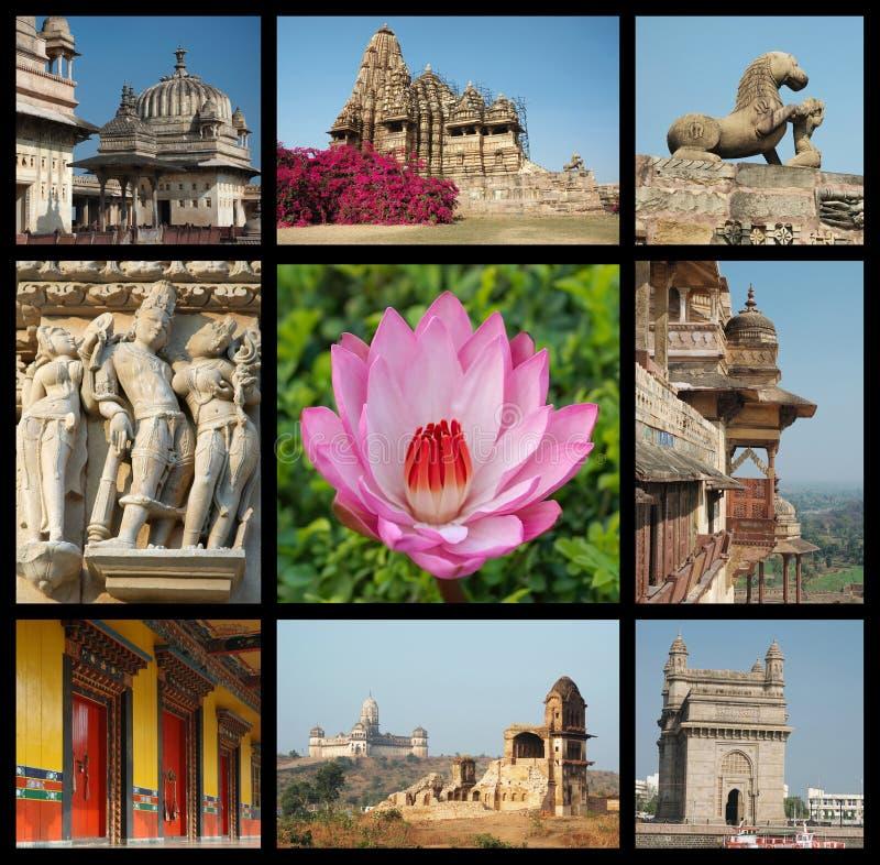 коллаж идет перемещение фото наземного ориентира Индии стоковая фотография