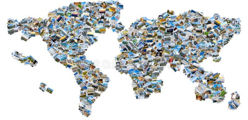Коллаж изображений перемещения - карта мира стоковое изображение