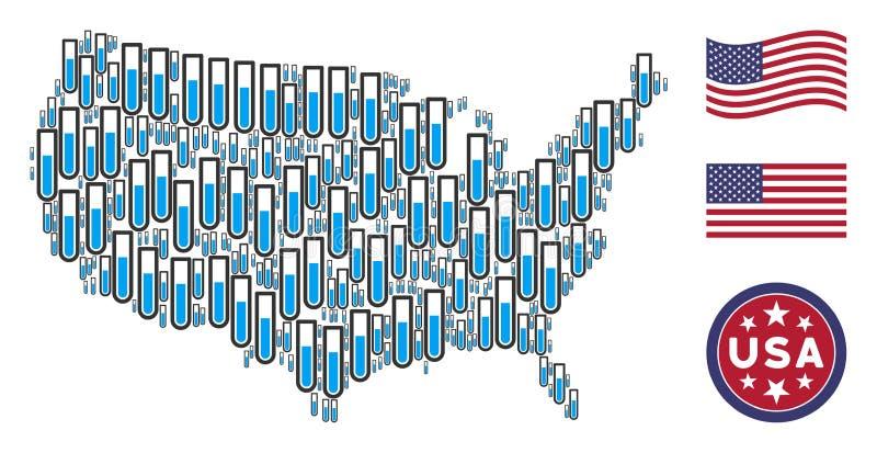Коллаж карты США пробирки иллюстрация вектора
