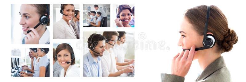 Коллаж команды помощи обслуживания клиента в центре телефонного обслуживания стоковые изображения