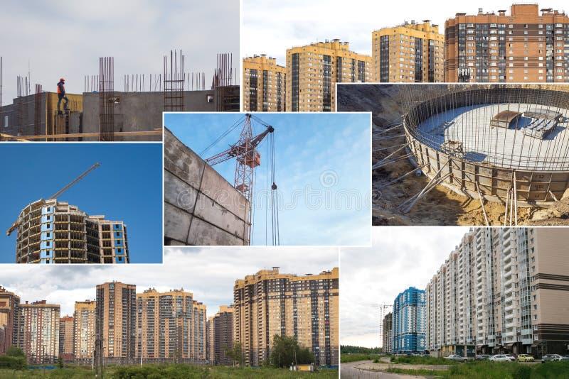 Коллаж конструкции новых жилых многоэтажных зданий стоковая фотография
