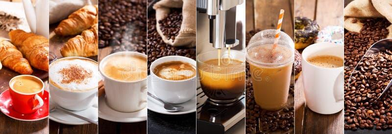 Коллаж кофе различных чашек стоковое изображение
