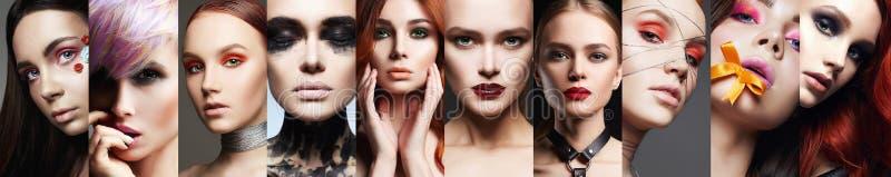 Коллаж красоты Женщины Мозаика девушек состава красивая стоковые изображения