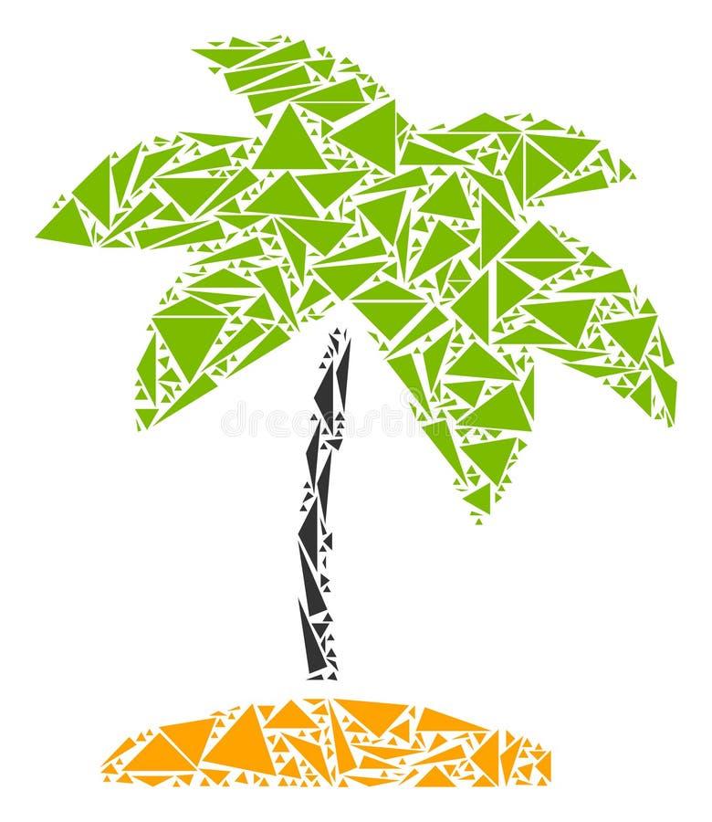 Коллаж ладони острова троповый треугольников иллюстрация вектора