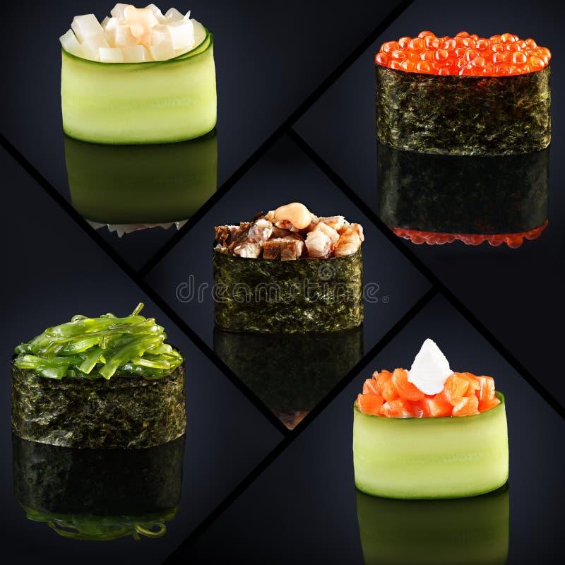 Коллаж меню японского ресторана различных суш gunkan на черной предпосылке стоковое фото