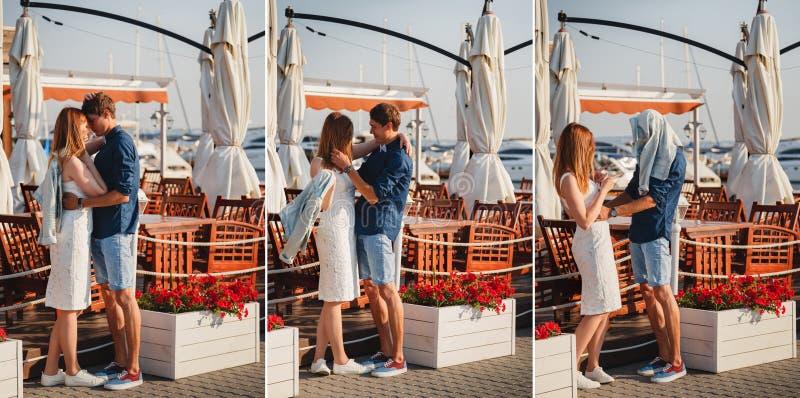 коллаж Милая молодая красивая пара обнимающ и ягнящся близко к малому кафу лета на порте, счастливый усмехаться внешний стоковая фотография rf