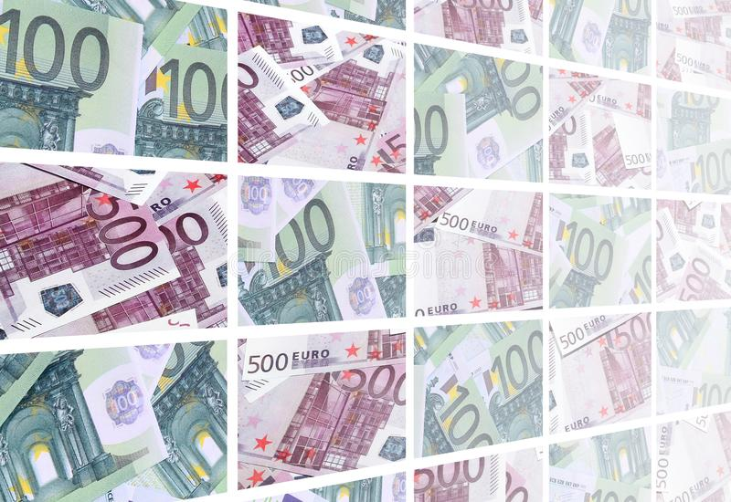 Коллаж много изображений сотен долларов и счетов l евро иллюстрация вектора