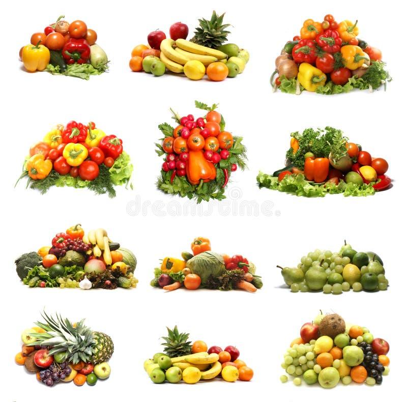 Коллаж много различных фруктов и овощей стоковое изображение