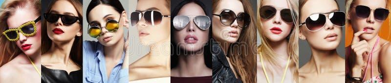 Коллаж моды красоты Женщины в солнечных очках стоковая фотография rf