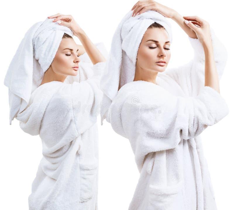 Коллаж молодой женщины в купальном халате и полотенце ванны на голове стоковое фото