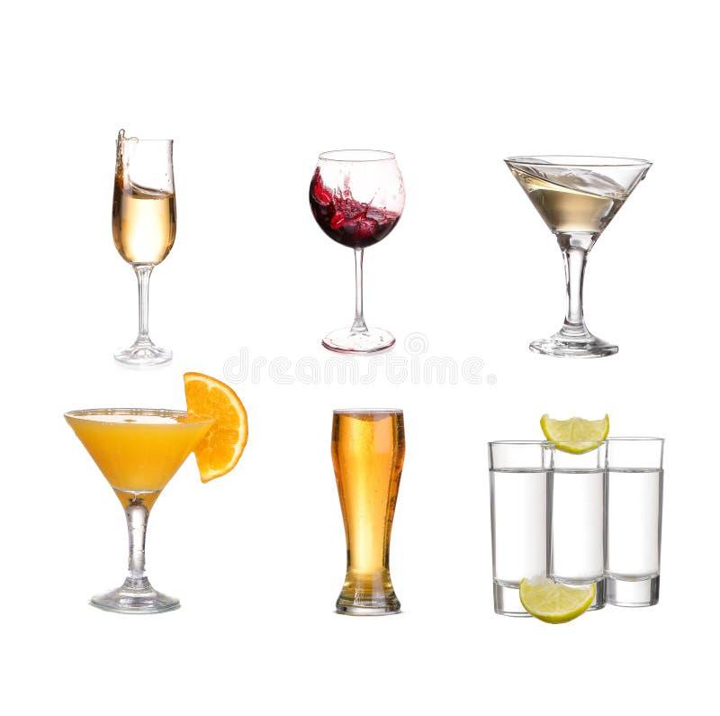 Коллаж напитков алкоголя r стоковая фотография rf