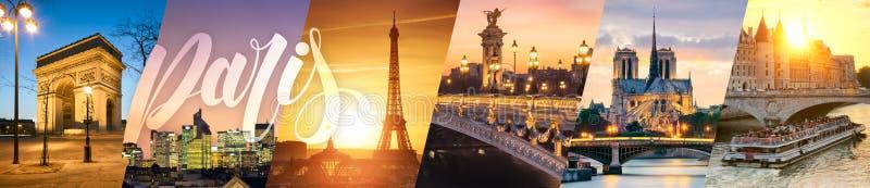 Коллаж ориентир ориентиров Парижа стоковые фото