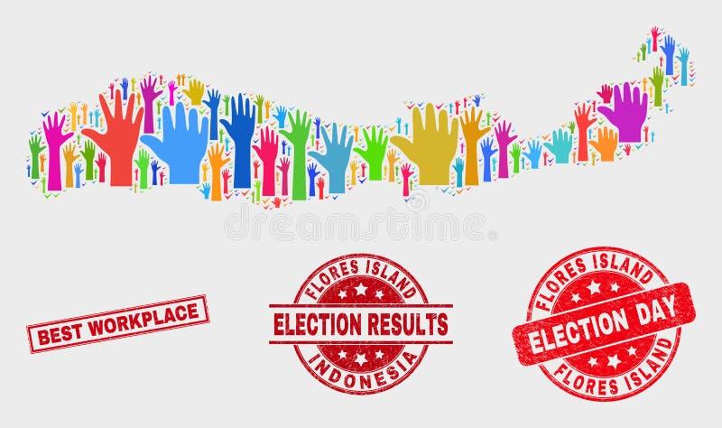 Коллаж острова Flores списка избирателей карты Индонезии и огорчить самое лучшее уплотнение печати рабочего места иллюстрация вектора