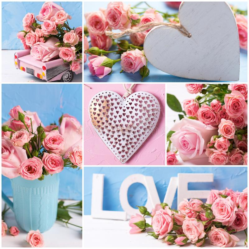 Коллаж от романтичных фото с розовыми цветками и сердцами роз стоковые фотографии rf