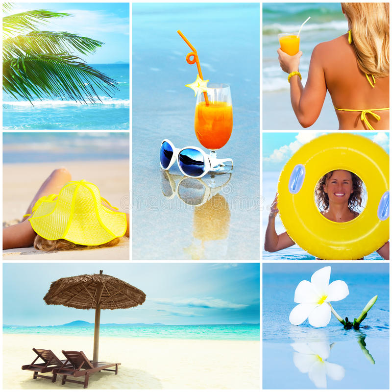 коллаж пляжа тропический стоковые изображения rf