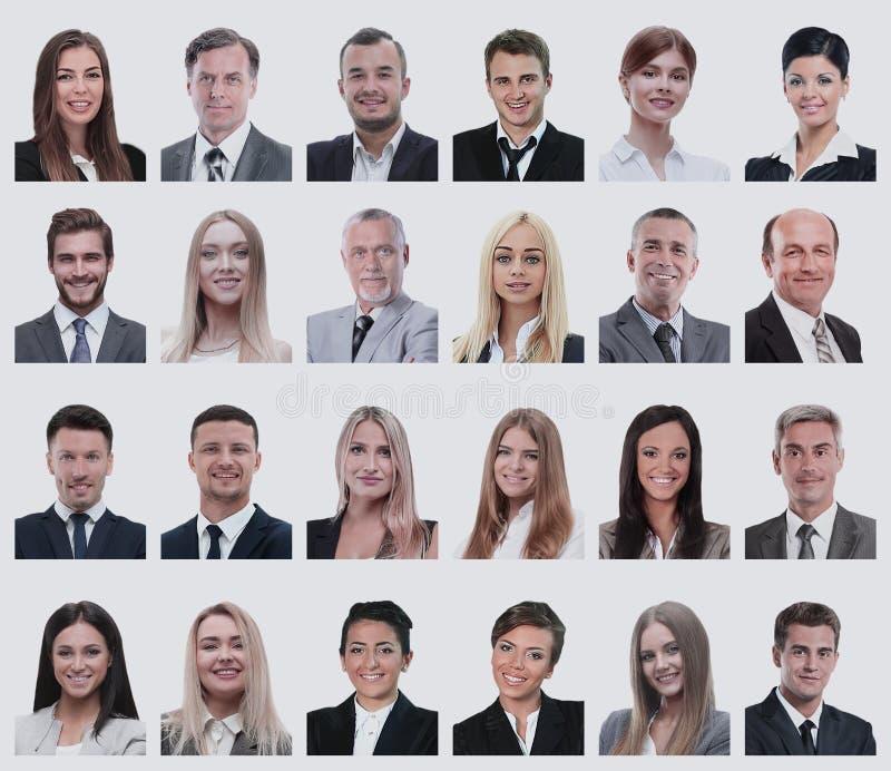 Коллаж портретов бизнесменов изолированных на белизне стоковое фото rf