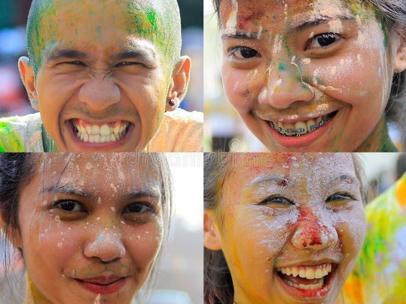 Коллаж радостного выражения молодые люди стоковое изображение