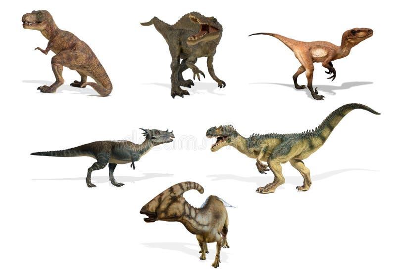 Коллаж различного вида динозавров изолированных на белой предпосылке иллюстрация вектора