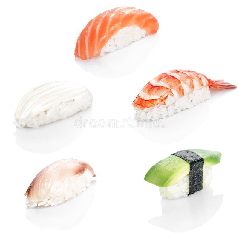 Коллаж различного меню японского ресторана суш на белой предпосылке стоковое изображение