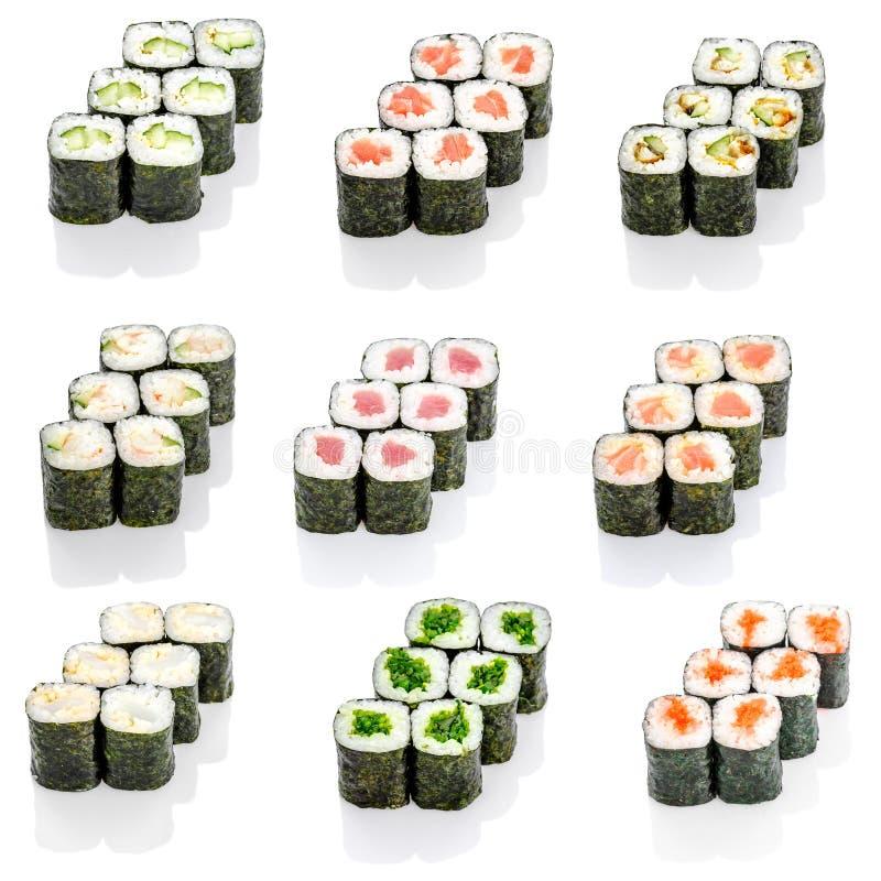 Коллаж различного меню японского ресторана суш на белой предпосылке стоковые фото
