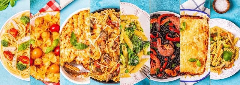 Коллаж различных блюд макаронных изделий стоковое фото rf
