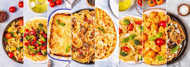 Коллаж различных блюд макаронных изделий стоковые фото